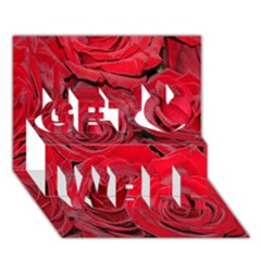 Red Roses Love Get Well 3D Greeting Card (7x5)