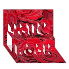 Red Roses Love You Rock 3D Greeting Card (7x5)
