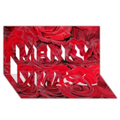 Red Roses Love Merry Xmas 3d Greeting Card (8x4)