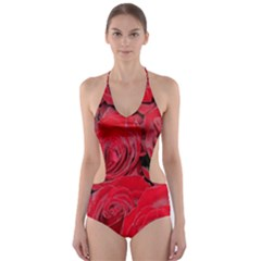 Red Roses Love Cut Out One Piece Swimsuit