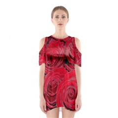 Red Roses Love Cutout Shoulder Dress