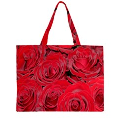 Red Roses Love Zipper Large Tote Bag