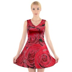Red Roses Love V Neck Sleeveless Skater Dress
