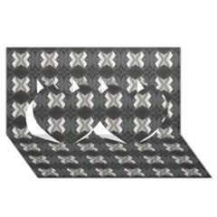 Black White Gray Crosses Twin Hearts 3D Greeting Card (8x4)