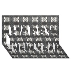 Black White Gray Crosses Happy New Year 3D Greeting Card (8x4)