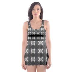 Black White Gray Crosses Skater Dress Swimsuit