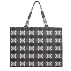 Black White Gray Crosses Zipper Large Tote Bag