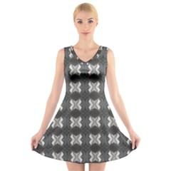 Black White Gray Crosses V-Neck Sleeveless Skater Dress
