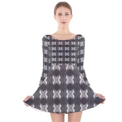 Black White Gray Crosses Long Sleeve Velvet Skater Dress