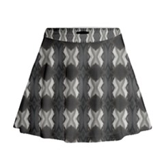 Black White Gray Crosses Mini Flare Skirt