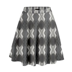 Black White Gray Crosses High Waist Skirt