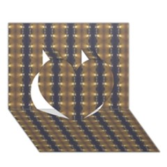 Black Brown Gold Stripes Heart 3D Greeting Card (7x5)