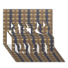 Black Brown Gold Stripes Get Well 3D Greeting Card (7x5)