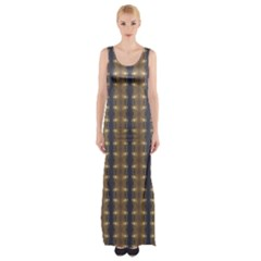 Black Brown Gold Stripes Maxi Thigh Split Dress