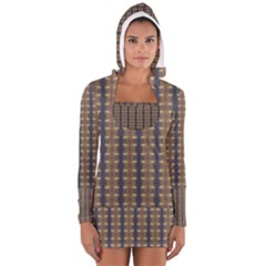 Black Brown Gold Stripes Women s Long Sleeve Hooded T-shirt
