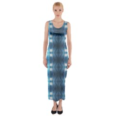 Blue Diamonds Of The Sea 1 Fitted Maxi Dress