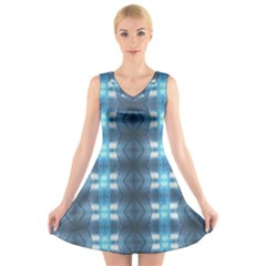 Blue Diamonds Of The Sea 1 V-Neck Sleeveless Skater Dress