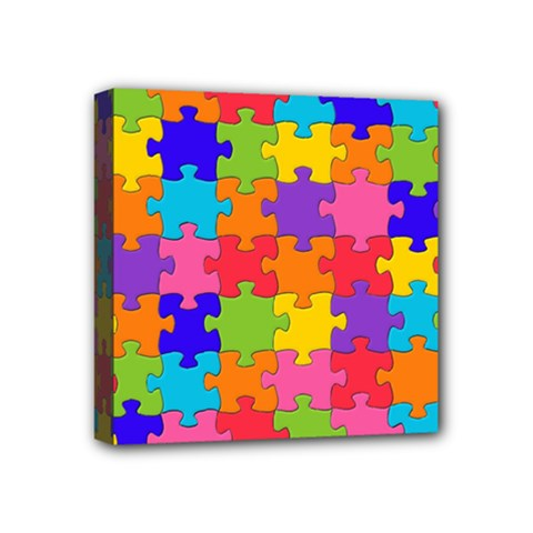 Funny Colorful Jigsaw Puzzle Mini Canvas 4  X 4