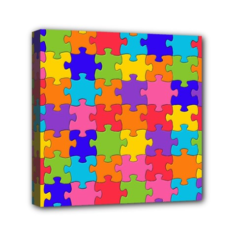 Funny Colorful Jigsaw Puzzle Mini Canvas 6  X 6
