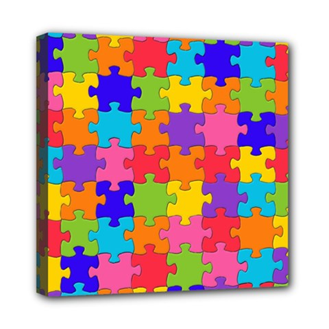 Funny Colorful Jigsaw Puzzle Mini Canvas 8  X 8