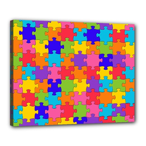 Funny Colorful Jigsaw Puzzle Canvas 20  X 16
