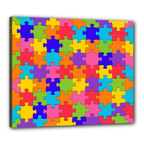 Funny Colorful Jigsaw Puzzle Canvas 24  X 20