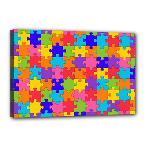 Funny Colorful Jigsaw Puzzle Canvas 18  X 12