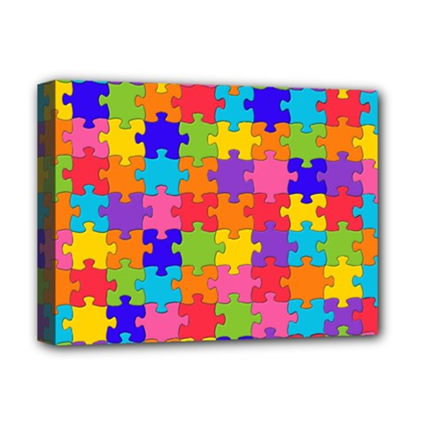 Funny Colorful Jigsaw Puzzle Deluxe Canvas 16  X 12