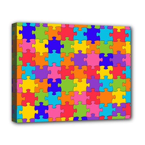 Funny Colorful Jigsaw Puzzle Deluxe Canvas 20  X 16
