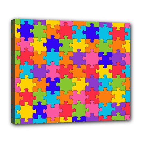 Funny Colorful Jigsaw Puzzle Deluxe Canvas 24  X 20