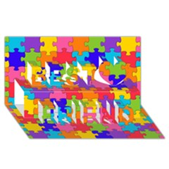 Funny Colorful Jigsaw Puzzle Best Friends 3d Greeting Card (8x4)