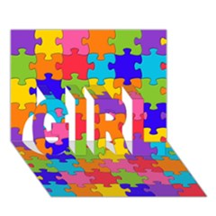 Funny Colorful Jigsaw Puzzle Girl 3d Greeting Card (7x5)