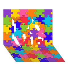 Funny Colorful Jigsaw Puzzle Love 3d Greeting Card (7x5)