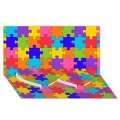 Funny Colorful Jigsaw Puzzle Twin Heart Bottom 3d Greeting Card (8x4)