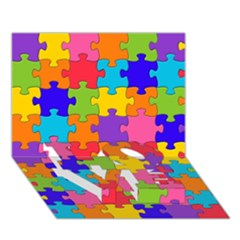 Funny Colorful Jigsaw Puzzle Love Bottom 3d Greeting Card (7x5)