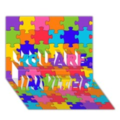 Funny Colorful Jigsaw Puzzle You Are Invited 3d Greeting Card (7x5)