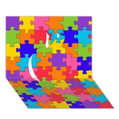 Funny Colorful Jigsaw Puzzle Apple 3d Greeting Card (7x5)