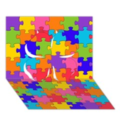 Funny Colorful Jigsaw Puzzle Clover 3d Greeting Card (7x5)