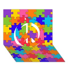 Funny Colorful Jigsaw Puzzle Peace Sign 3d Greeting Card (7x5)