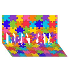 Funny Colorful Jigsaw Puzzle Best Sis 3d Greeting Card (8x4)