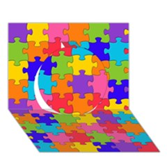 Funny Colorful Jigsaw Puzzle Circle 3d Greeting Card (7x5)