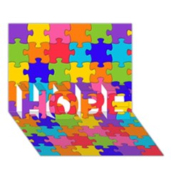 Funny Colorful Jigsaw Puzzle Hope 3d Greeting Card (7x5)
