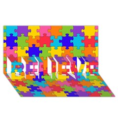 Funny Colorful Jigsaw Puzzle Believe 3d Greeting Card (8x4)