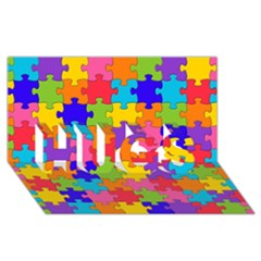 Funny Colorful Jigsaw Puzzle Hugs 3d Greeting Card (8x4)