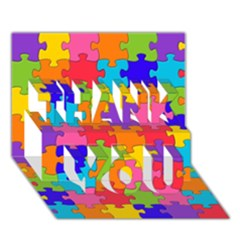 Funny Colorful Jigsaw Puzzle Thank You 3d Greeting Card (7x5)