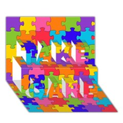 Funny Colorful Jigsaw Puzzle Take Care 3d Greeting Card (7x5)