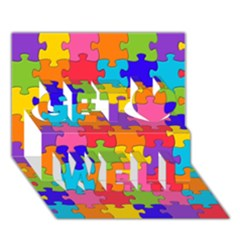 Funny Colorful Jigsaw Puzzle Get Well 3d Greeting Card (7x5)