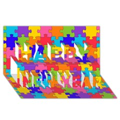 Funny Colorful Jigsaw Puzzle Happy New Year 3d Greeting Card (8x4)