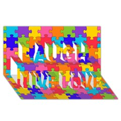 Funny Colorful Jigsaw Puzzle Laugh Live Love 3d Greeting Card (8x4)