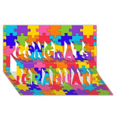 Funny Colorful Jigsaw Puzzle Congrats Graduate 3d Greeting Card (8x4)